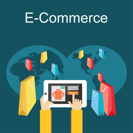 web commerce: E-commerce or online shopping illustration. Flat design illustration concept. Illustration