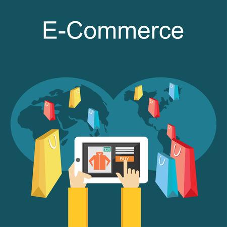 commerce: E-commerce or online shopping illustration. Flat design illustration concept. Illustration