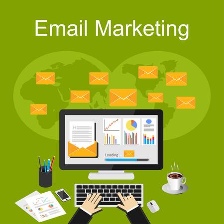 correo electronico: Ilustración del email marketing. Vectores