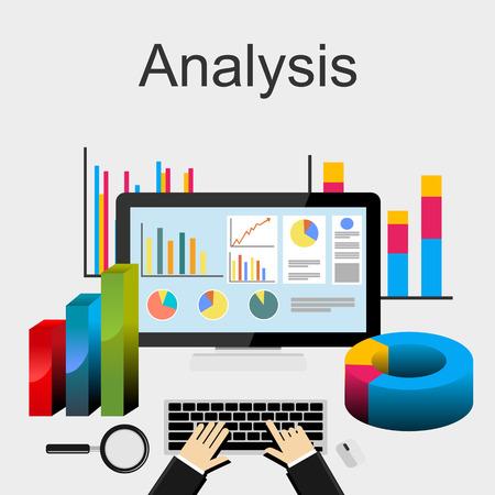 データ分析、傾向分析、ビジネス、計画、管理、キャリア、ビジネス戦略、ビジネス統計、監視フラット設計図の概念。