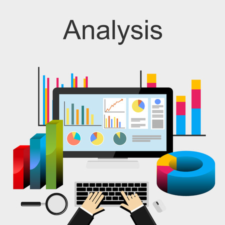 Flat design illustration concepts for data analysis, trend analysis, business, planning, management, career, business strategy, business statistics, monitoring. Stock Illustratie