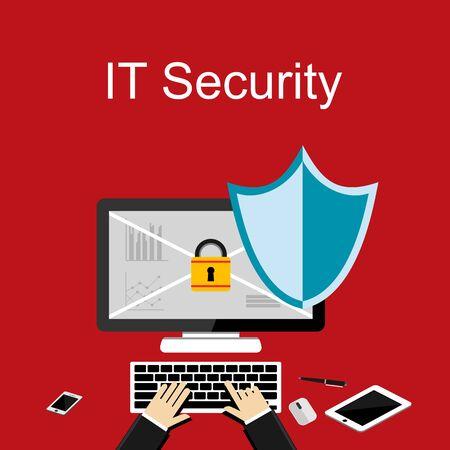 information design: Flat design concept for Information Technology Security, data protection. Illustration