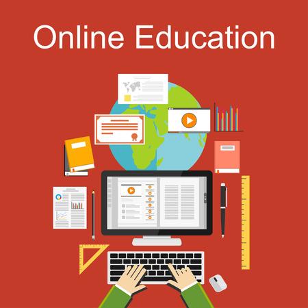 Flat design illustration of online education or e-learning.