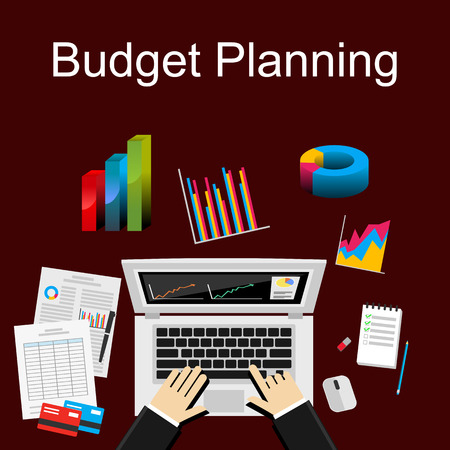 statistical: Flat illustration of budget planning, market analysis, financial accounting. Illustration