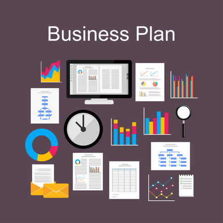 analytic: Flat design illustration concept for business plan, discussion group, analytic, business statistics, management.