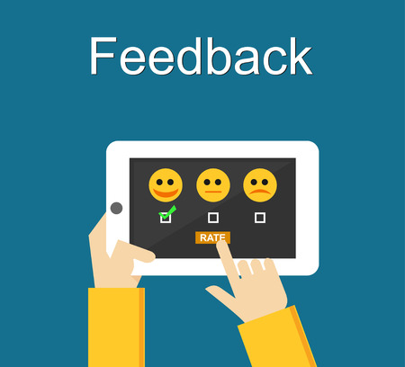 reviewing: Feedback illustration. Flat design. Feedback or Rating system on phone screen. Giving feedback concept.