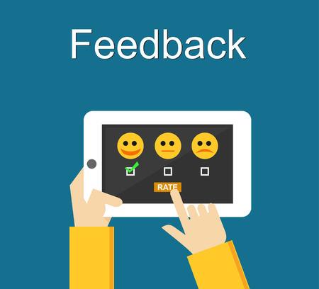 Feedback illustration. Flat design. Feedback or Rating system on phone screen. Giving feedback concept.