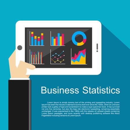 business meeting computer: Business statistics illustration. Illustration