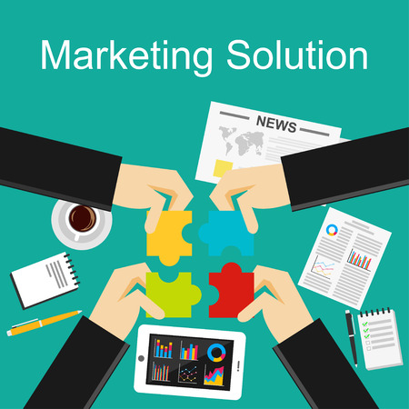 proposition: Flat design concepts for marketing solution, decision making, solution, brainstorming.