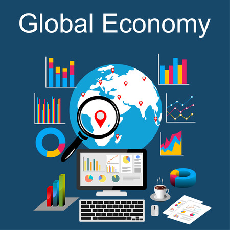 analytic: Flat design concepts for global economy, world economy, marketing analytic.