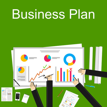 Flat design illustration concept for business plan, discussion group, analytic, business statistics, management. Vetores