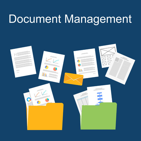 documents: flat design of documents management. Illustration