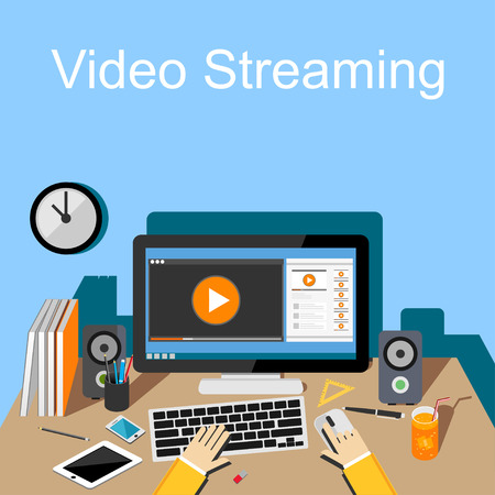 watch video: Flat design illustration of  video streaming. Illustration