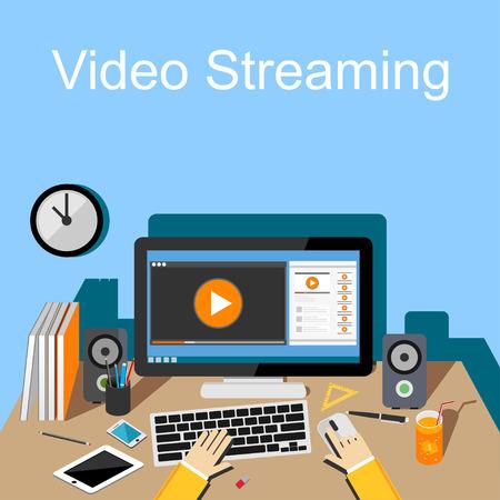 video screen: Flat design illustration of  video streaming. Illustration