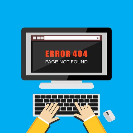 pc screen: Illustration concept of page 404 error on desktop pc screen