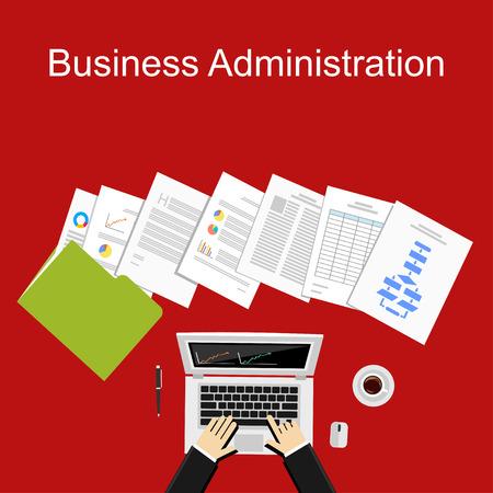Ilustración administración de empresas. Piso conceptos de diseño ilustración para los negocios, planificación, gestión, finanzas, contabilidad, trabajo, inversión.