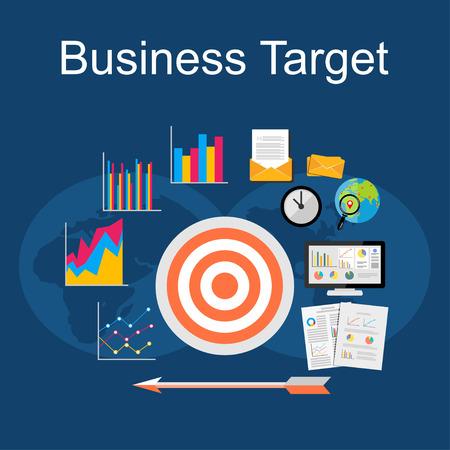 Business target illustration. Flat design illustration concepts for business strategy, planning, management.