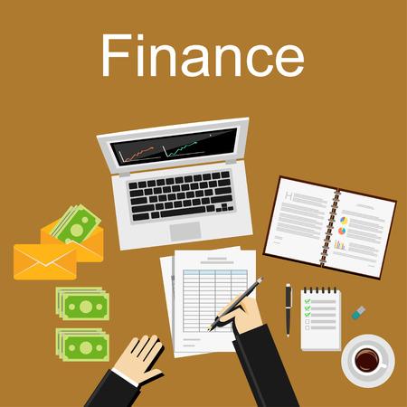 üzlet: Pénzügy illusztráció. Lapos kialakítás illusztrálja fogalmak az üzleti tervezés, menedzsment, pénzügy, számvitel, üzleti statisztika, a munka, a beruházások.