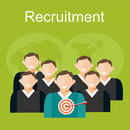candidate: Recruitment illustration. Flat design illustration concepts for human resources, finding employee, recruit candidate.