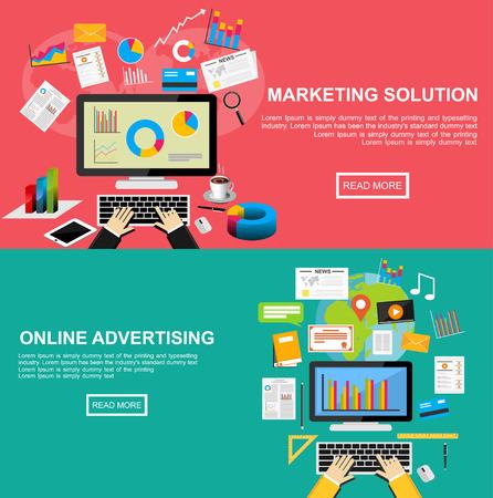 마케팅 솔루션, 온라인 광고, 인터넷 콘텐츠, 투자, 웹 콘텐츠, 검색 엔진 최적화에 대한 플랫 디자인 일러스트 레이 션 개념입니다.