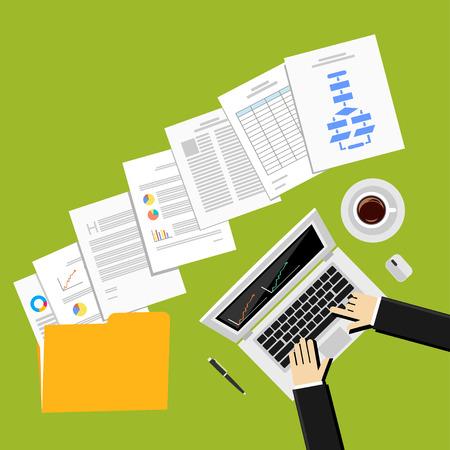 Ilustración, diseño, Piso en el informe de negocio, documentos de negocios, hombre de negocios, de trabajo, de gestión. Ilustración de vector