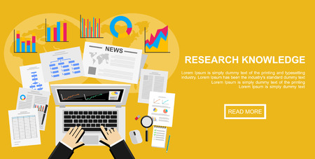 researching: Flat design illustration concept for market analysis, business plan, investment, marketing. reporting, management, market research.