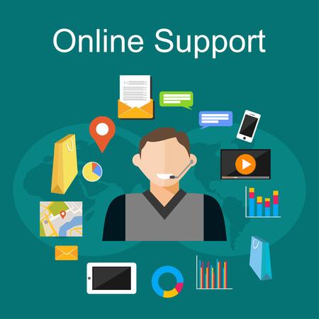 solucion de problemas: Ilustración Asistencia online. Piso conceptos de diseño de ilustración para la atención al cliente, soporte técnico, consultoría, servicio.