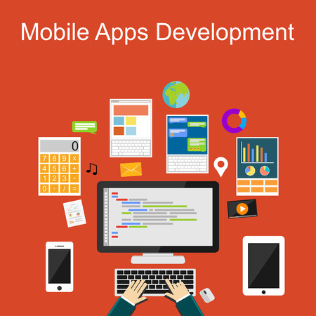 携帯アプリ開発、プログラミング、プログラマー、開発者、開発、アプリケーション開発、フラット設計図の概念ブレーンストーミング、コーディ
