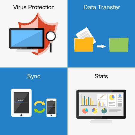 file transfer: Set of flat design illustration concepts for virus protection, file transfer, sync, stats.