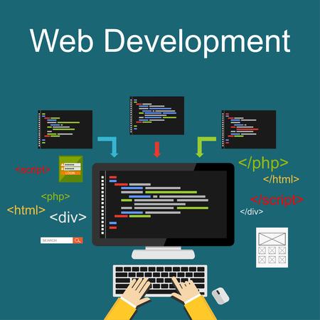 deploy: Web development illustration. Flat design illustration concepts for brainstorming, coding, programming, web development, web design. Illustration