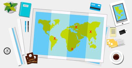 gadget: Travel banner flat design illustration.