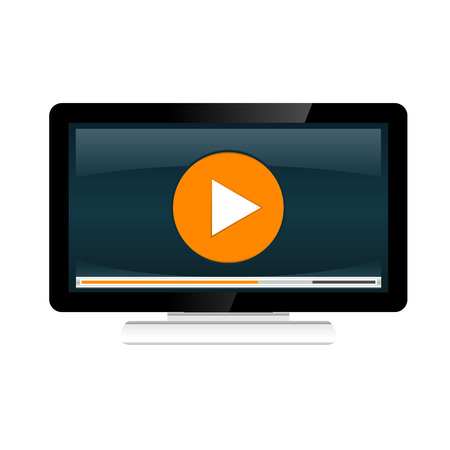 video player: Video streaming concept illustration. Watching video on desktop.