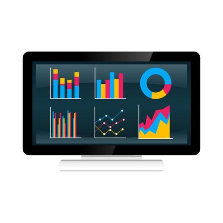 Illustration concepts for statistics, analysis, graph on desktop screen.