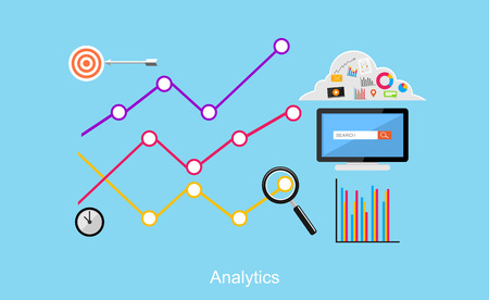 Analytics illustration. Flat design illustration concepts for business, business statistics, brainstorming, monitoring trend.  イラスト・ベクター素材