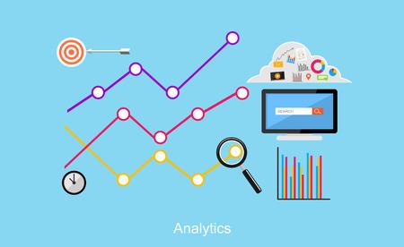 유행: 웹 로그 분석입니다. 비즈니스, 비즈니스 통계, 브레인 스토밍, 모니터링 추세 플랫 디자인 일러스트 레이 션 개념입니다. 일러스트