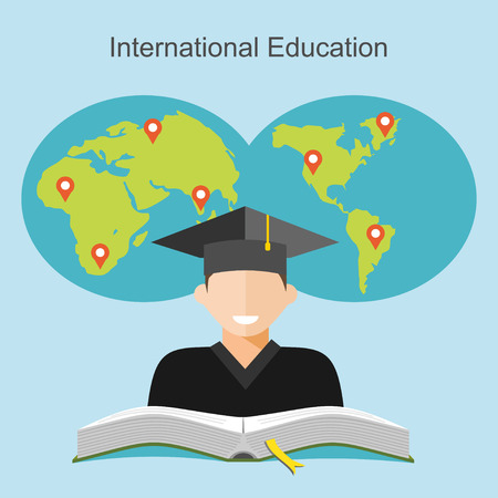 job icon: International education flat design illustrator.