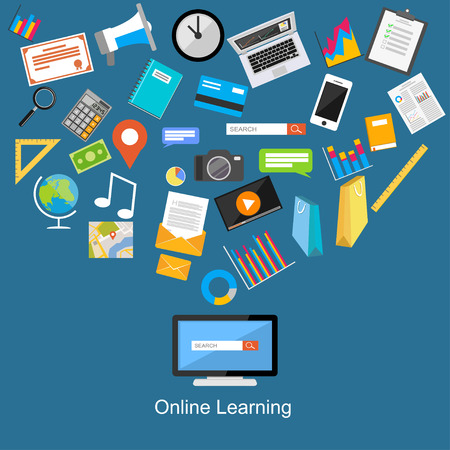 computer training: Online learning flat design illustration.