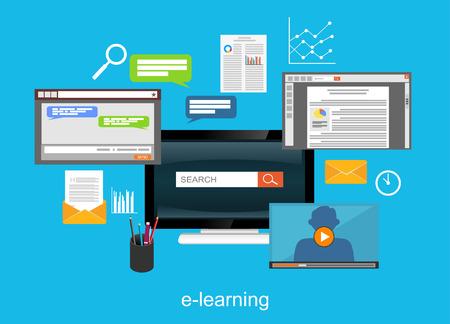 E-learning flat design illustration concept.