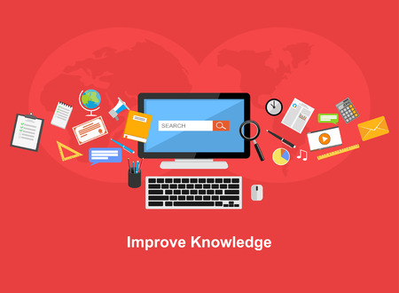 knowledge: Improve knowledge flat design illustration concept.
