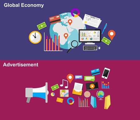 Global economy and advertisement flat design illustration concepts. Stok Fotoğraf - 42355795
