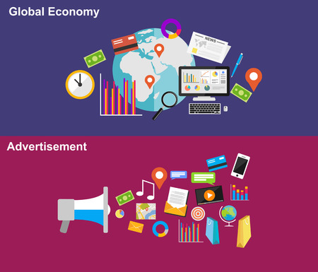 financial adviser: Global economy and advertisement flat design illustration concepts.