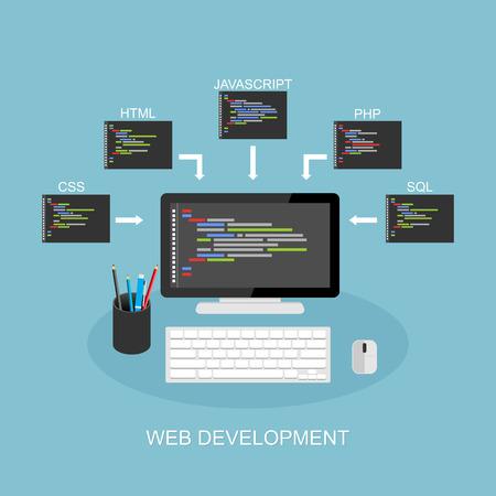software development: Web development illustration. Flat design. Concept of coding, programming, development.