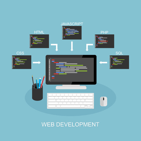 Web development illustration. Flat design. Concept of coding, programming, development.