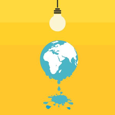 세계 개념 녹는. 지구 온난화의 그림입니다. 일러스트