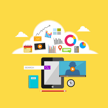 mobile internet: Internet contents illustration. Cloud storage, web contents, mobile technology.