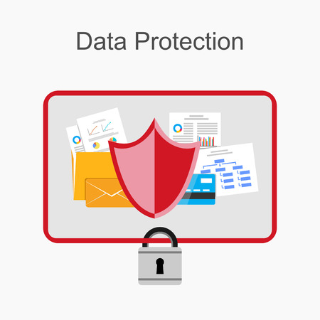 cyber business: Data protection illustration.