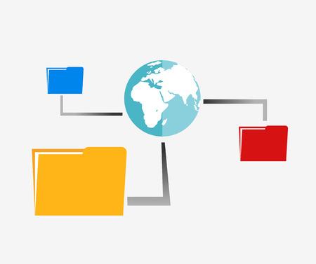 permits: File sharing illustration. Online backup file illustration. Illustration