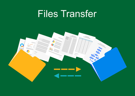 documents: Files transfer illustration. Documents management illustration.
