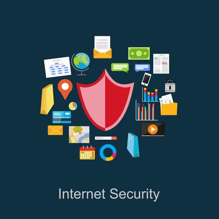 protected database: Ilustraci�n de seguridad de Internet. Ilustraci�n de protecci�n de datos.