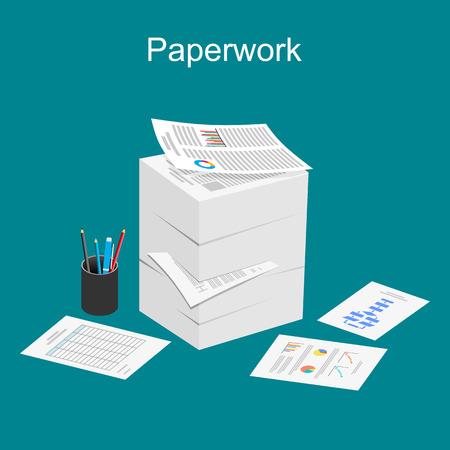 impuestos: Ilustración de Trámites. Pila de papel ilustración.